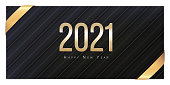 2021 Happy New Year Greeting Card. Gold numbers on black background. Flyer, poster, voucher, invitation, voucher or banner. Succinct luxury design