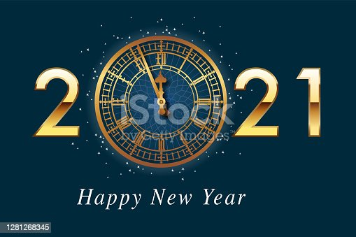 istock Greeting card 2021, presenting the Big-Ben clock with the year 2021 written in gold on a midnight blue background. 1281268345