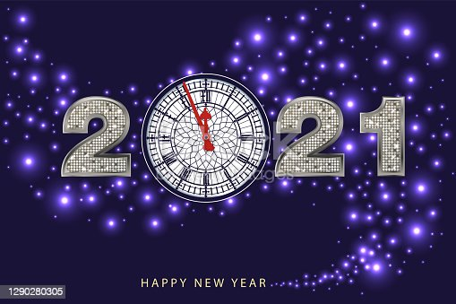 istock Greeting card 2021, presenting the Big-Ben clock with the year 2021 written in gold on a midnight blue background. 1290280305