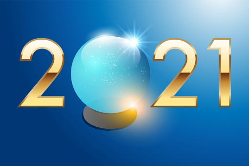 Greeting card 2021 with a crystal ball to symbolize the prediction of the future.