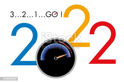 istock Greeting card 2022 on the theme of competition and motor racing. 1348055997