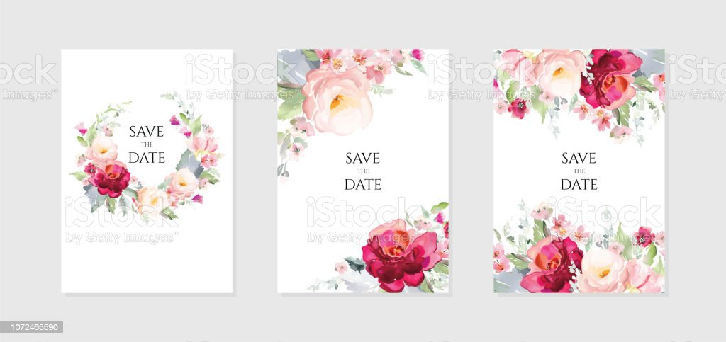 Greeting card and background with bouquets of flowers.A set of vector illustrations in a watercolor style. royalty-free greeting card and background with bouquets of flowersa set of vector illustrations in a watercolor style stock illustration - download image now
