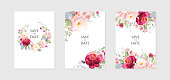 Greeting card and background with bouquets of flowers.A set of vector illustrations in a watercolor style.