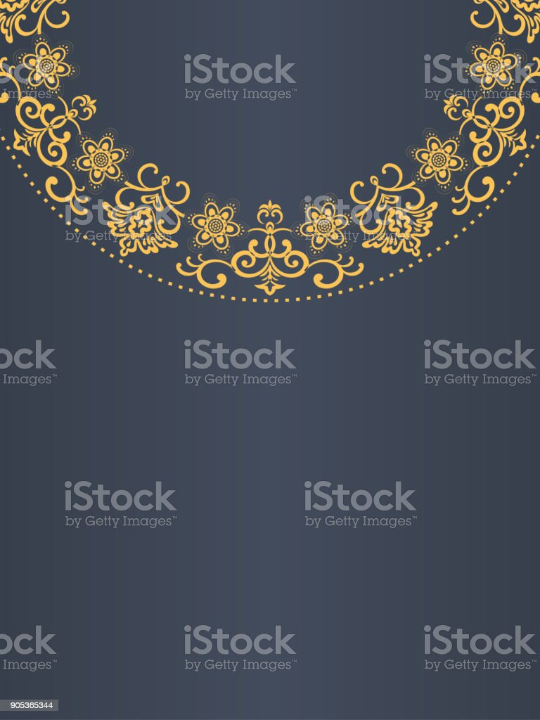 Greeting Card Background, Golden Frame vector art illustration