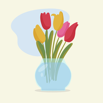 A greeting card. Bouquet of red tulips with leaves in a round glass vase. Flowers are the best gift for any holiday. Flat vector illustration