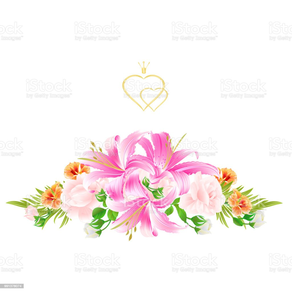 Greeting Card Bouquet With Flowers Arrangement With Pink Lilieslight