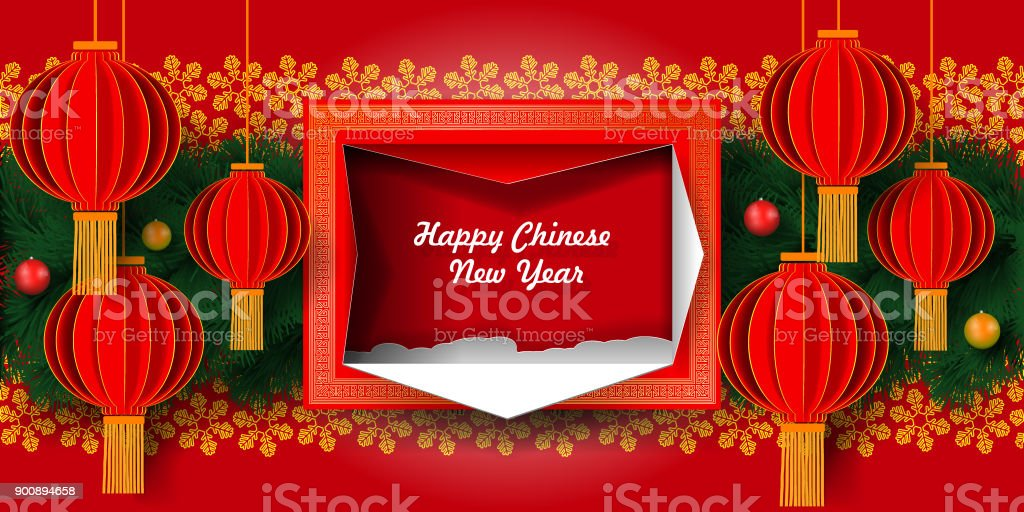 greeting card chinese new year 2018 chinese lanterns on the background of snowflakes and christmas
