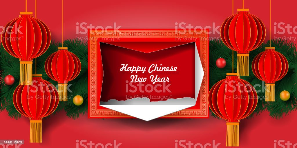 greeting card chinese new year 2018 chinese lanterns on the background of christmas tree royalty