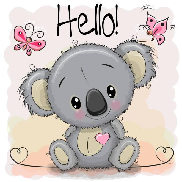 Greeting card Cute Cartoon Koala vector art illustration