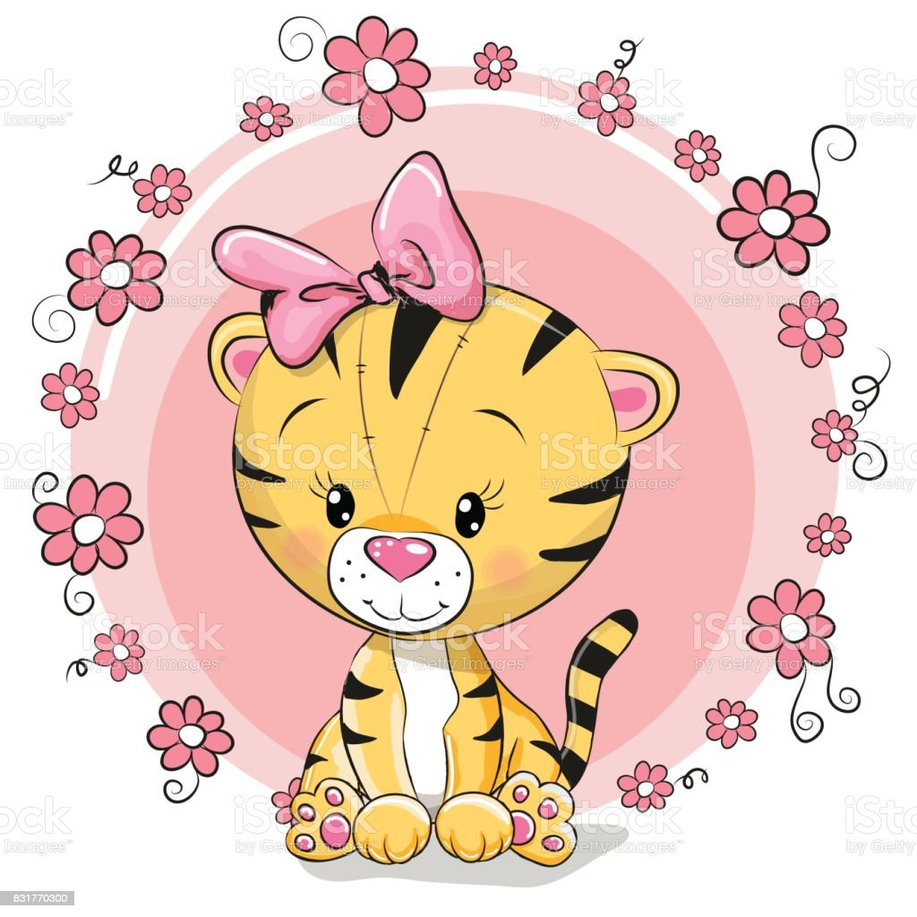 greeting card cute cartoon tiger stock vector art more images of