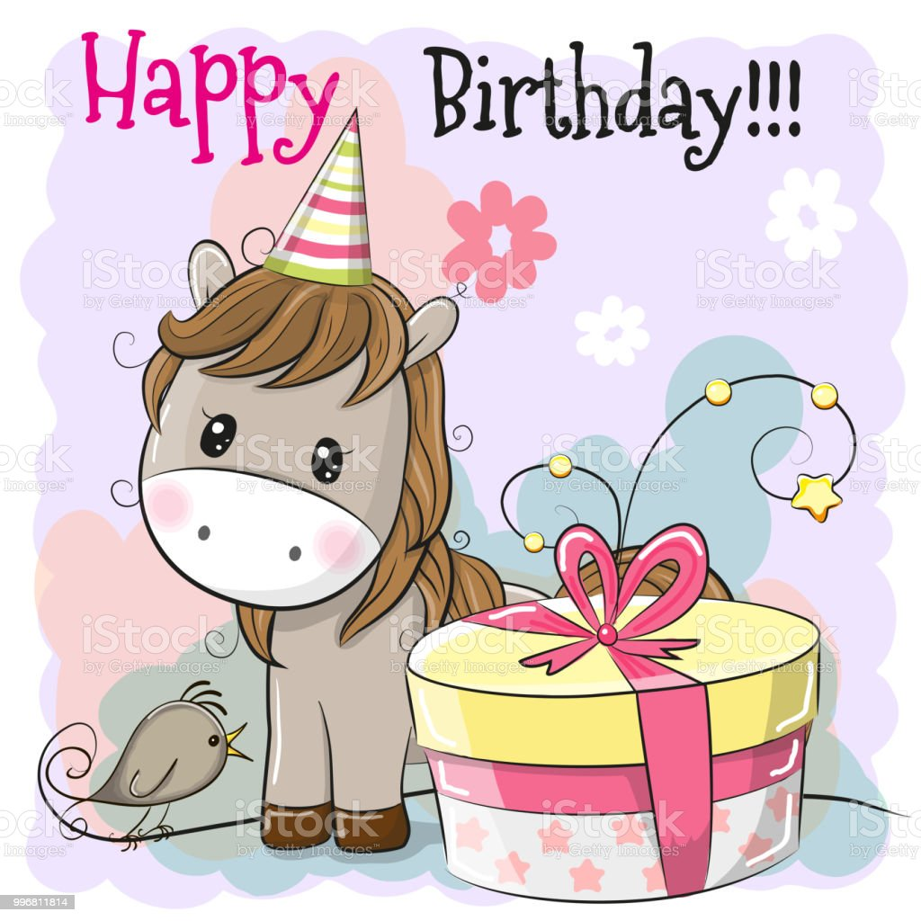 Greeting Card Cute Horse With Gift Stock Vector Art More Images Of