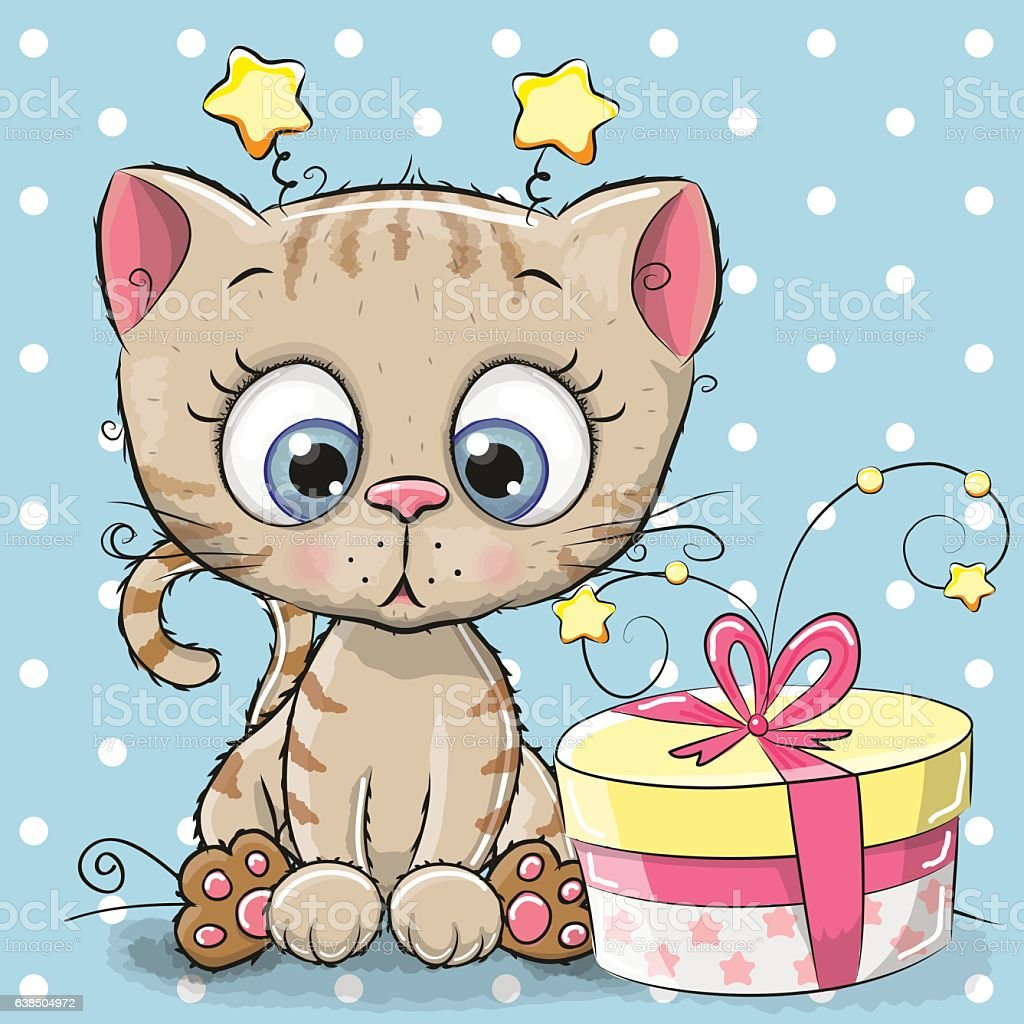 Greeting card cute Kitten with gift vector art illustration