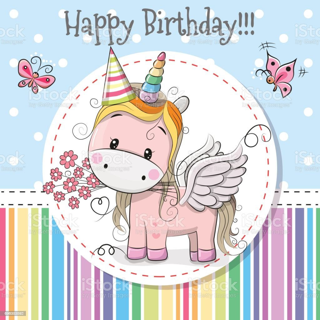 Greeting card Cute Unicorn vector art illustration