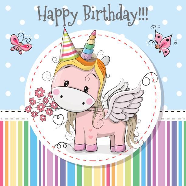 Greeting card Cute Unicorn vector art illustration