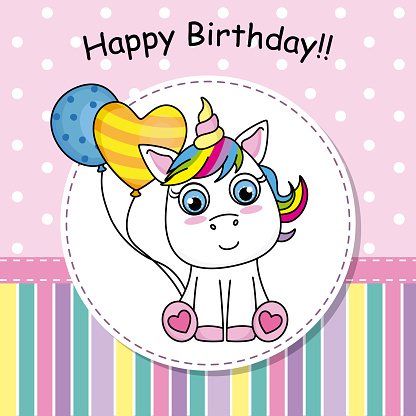 Greeting card Cute Unicorn with balloon