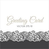 Template of greeting card decorated with floral lace