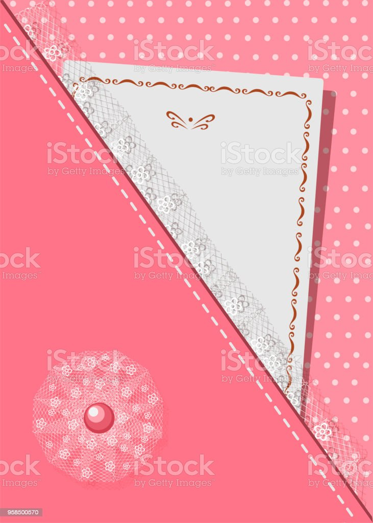 e88feae1c4 Greeting Card Decorated With Lace And Stitch On Background Of Polka ...