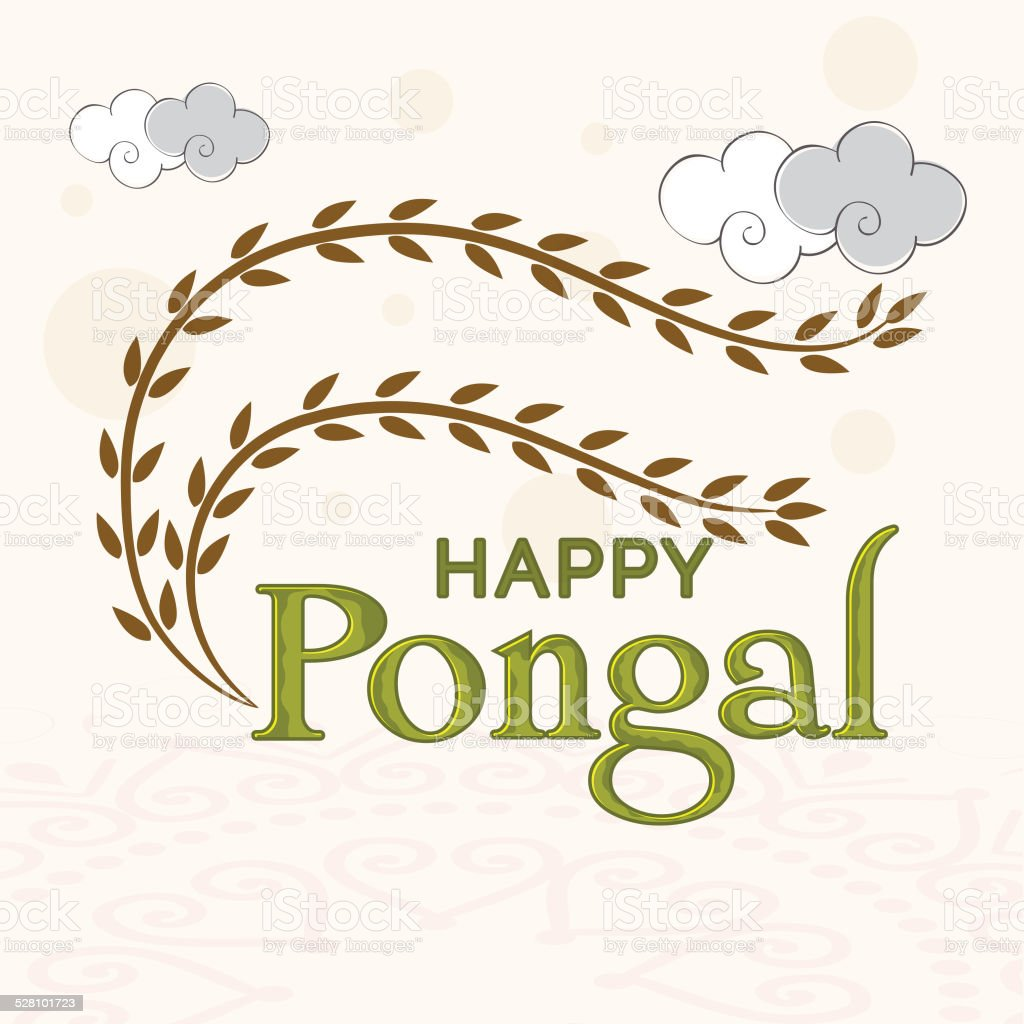 Greeting Card Design For Happy Pongal Festival Celebrations Stock