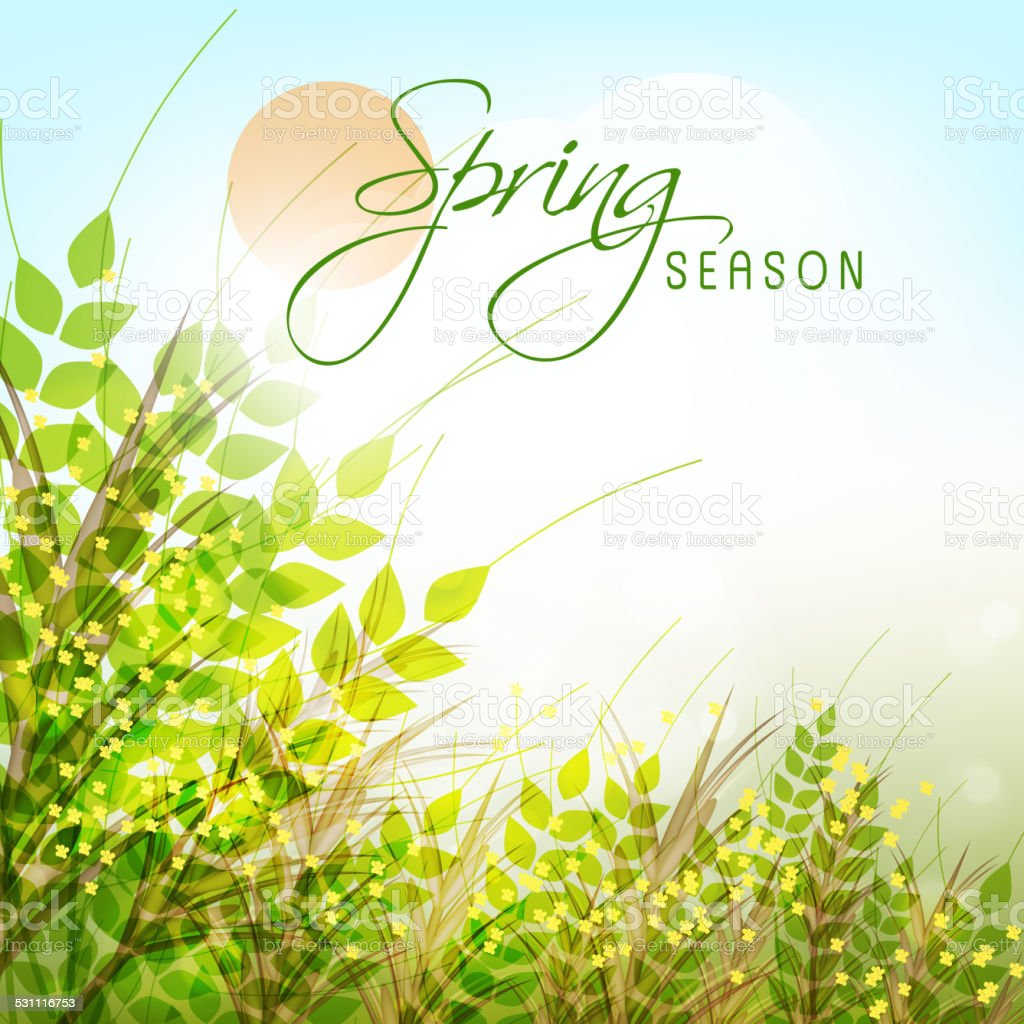 Greeting card design for Spring Season. vector art illustration