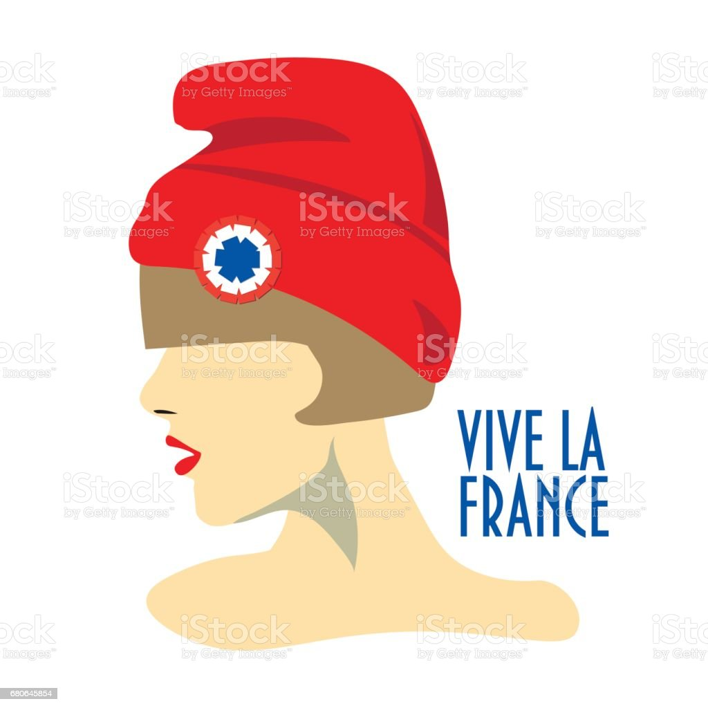 Greeting card design for The Bastille Day, French National Day. vector art illustration