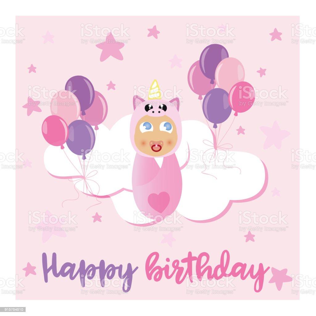 Greeting Card Design Pink Unicorn Baby Stock Vector Art More