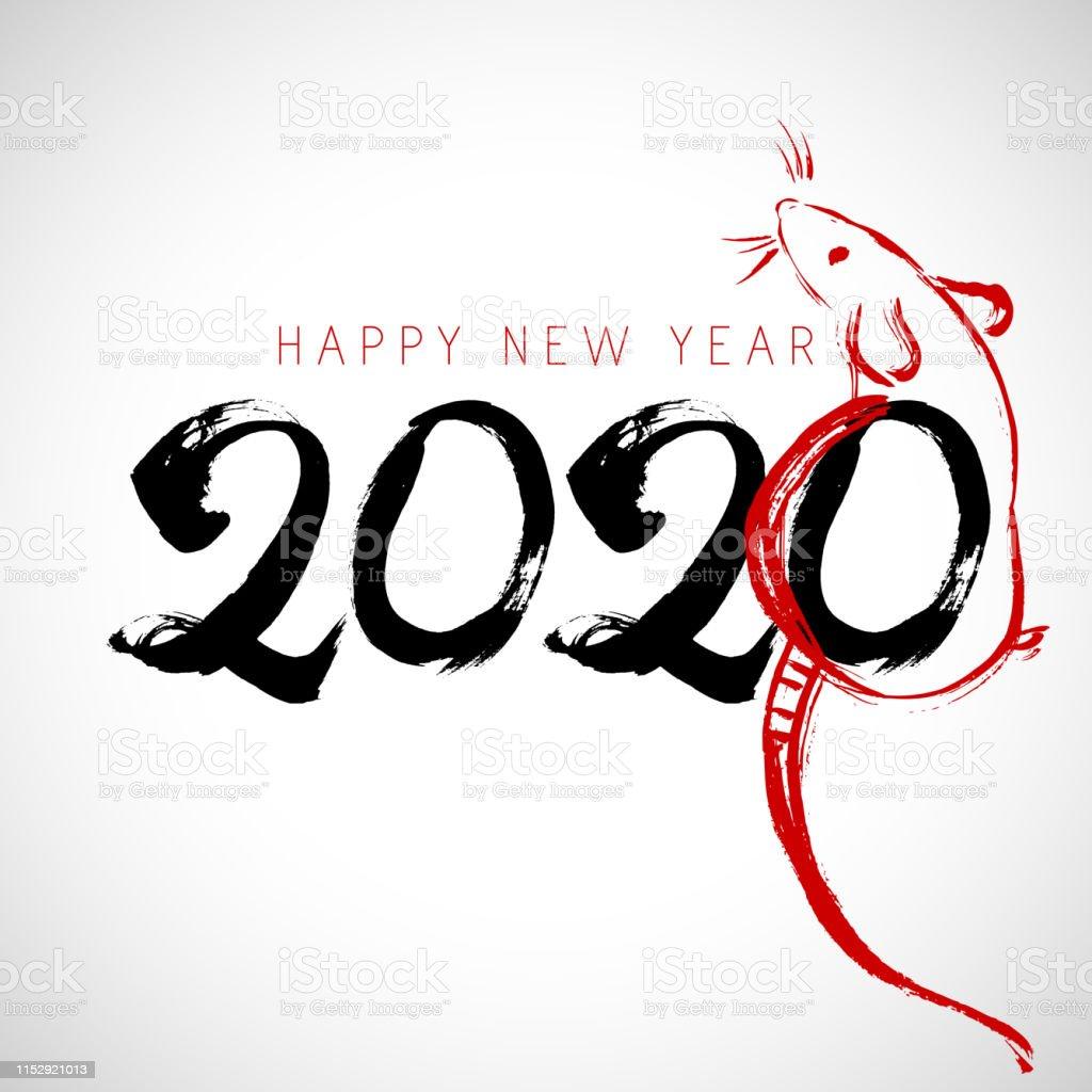 2020 Icin Cince Kaligrafi Ile Tebrik Karti Tasarim Sablonu Sican
