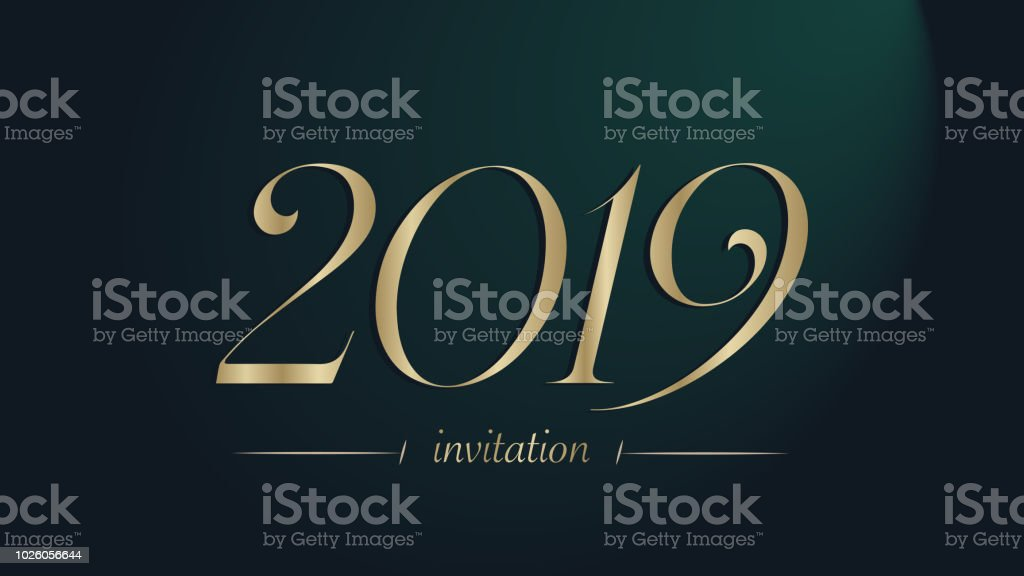 Greeting Card Design Template With Golden Number 2019 Luxury And Elegance Christmas Eve Invitation Card Design Typographic Gold 2019 Year Number On A
