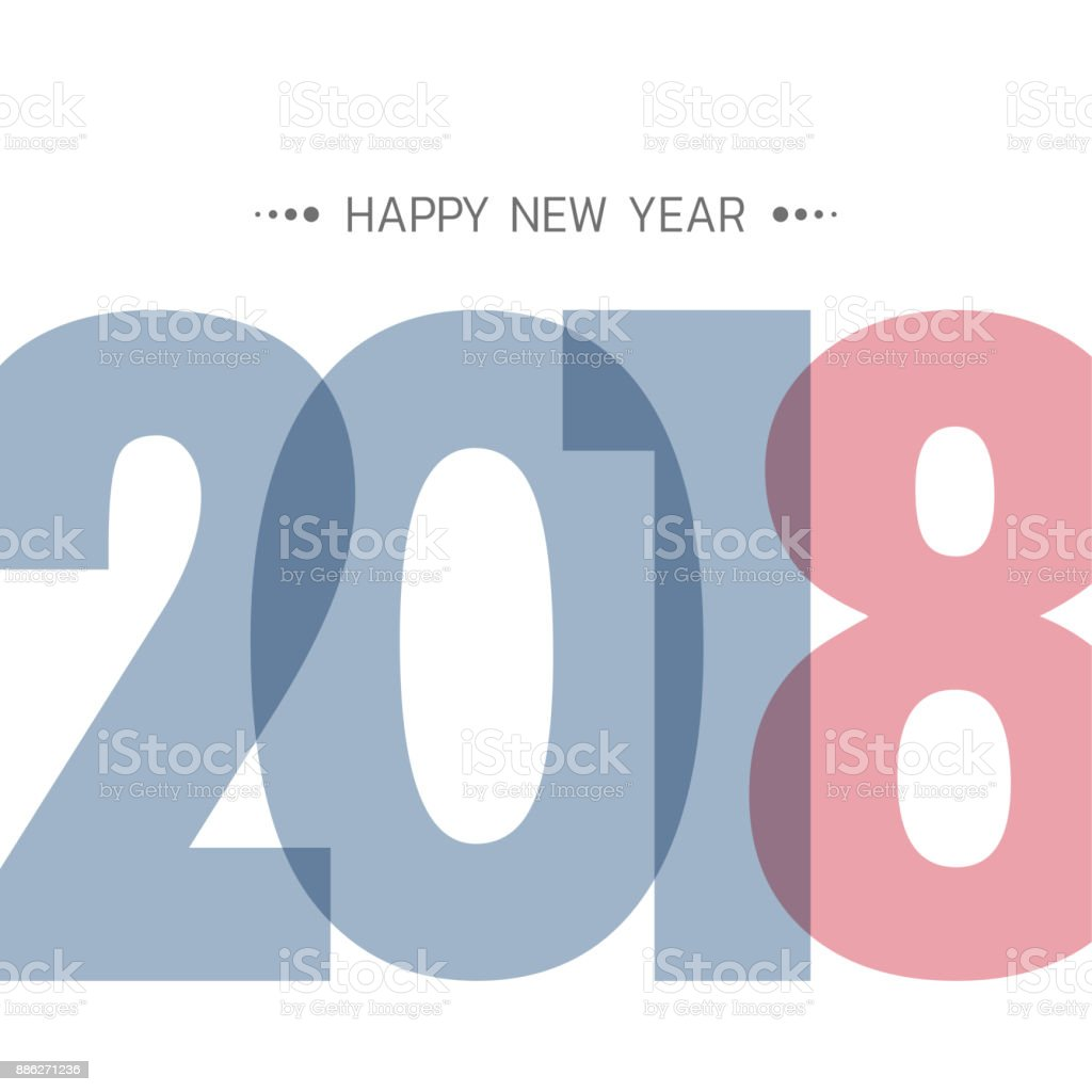 Greeting Card Design Template With Modern Text For 2018 New Year Of ...