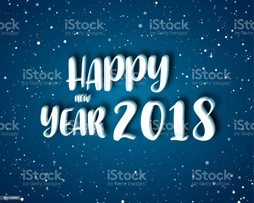 Greeting Card Design Template With Modern Text For 2018 New Year Of