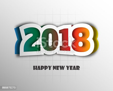 greeting card design template with modern text for 2018 new year of the dog color number 2018 drawn lettering on colorful background vector illustration