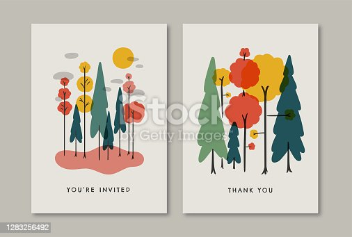 istock Greeting card design template with retro autumn forest illustration 1283256492