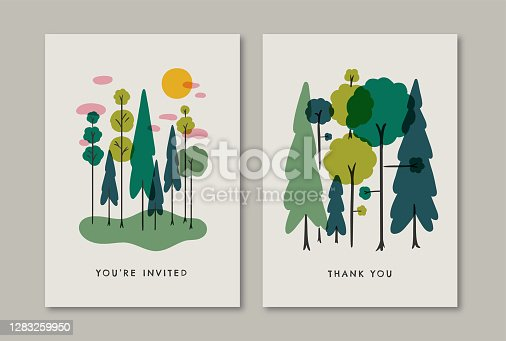 istock Greeting card design template with retro summer forest illustration 1283259950