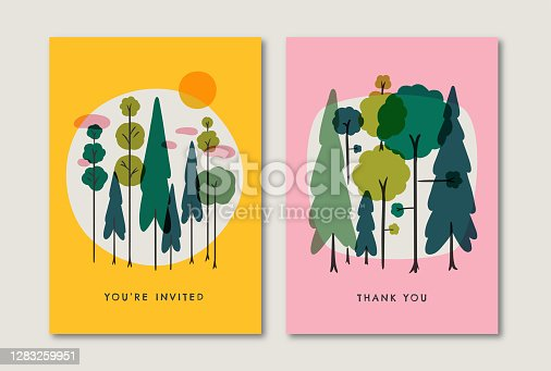 istock Greeting card design template with retro summer forest illustration 1283259951