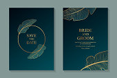 Set of two cards with golden frame and feathers on a dark turquoise background.