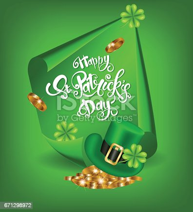 Greeting card design with creative text Happy St. Patrick s Day on green curved, paper banner and pot full of golden coins, green hat and shamrock.Vector illustration.Lettering typography.