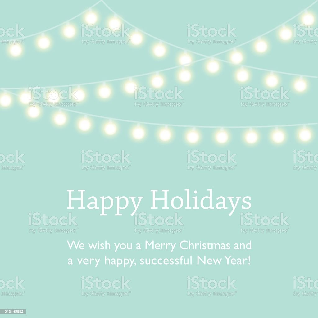 Greeting Card Design with Fairy Lights vector art illustration