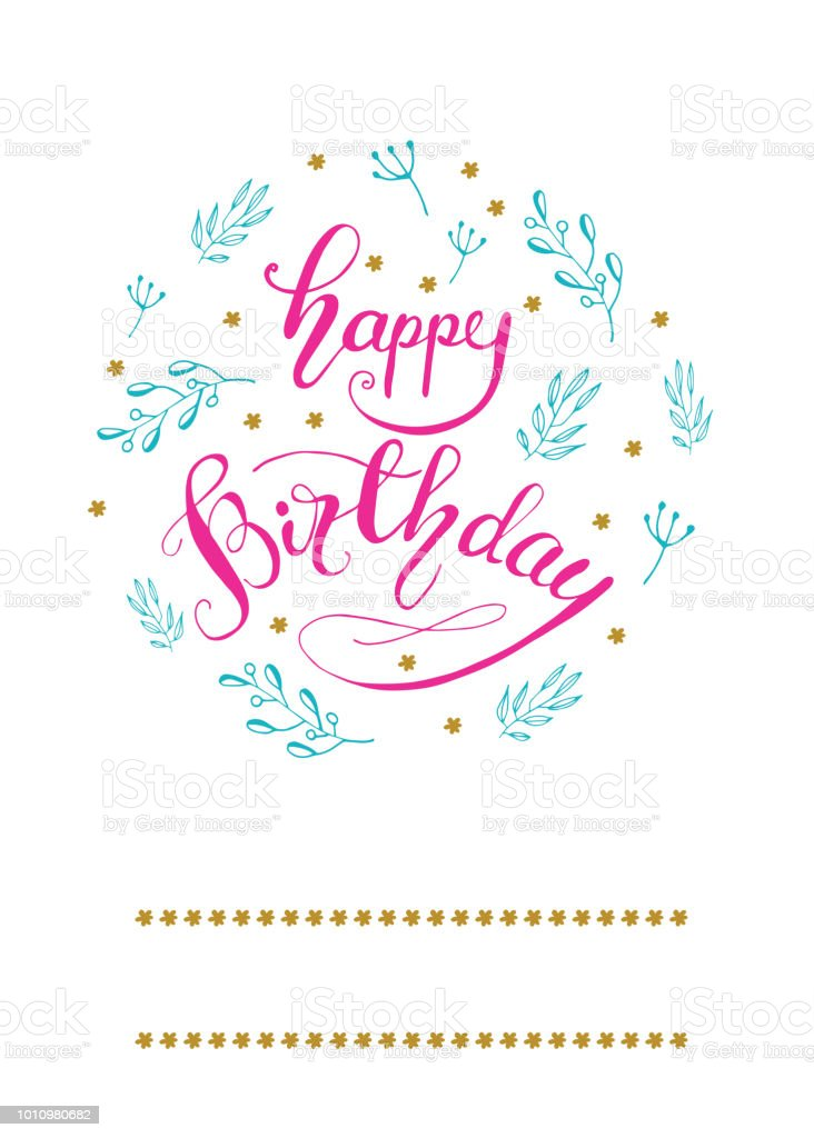 Greeting Card Design With Lettering Happy Birthday Vector