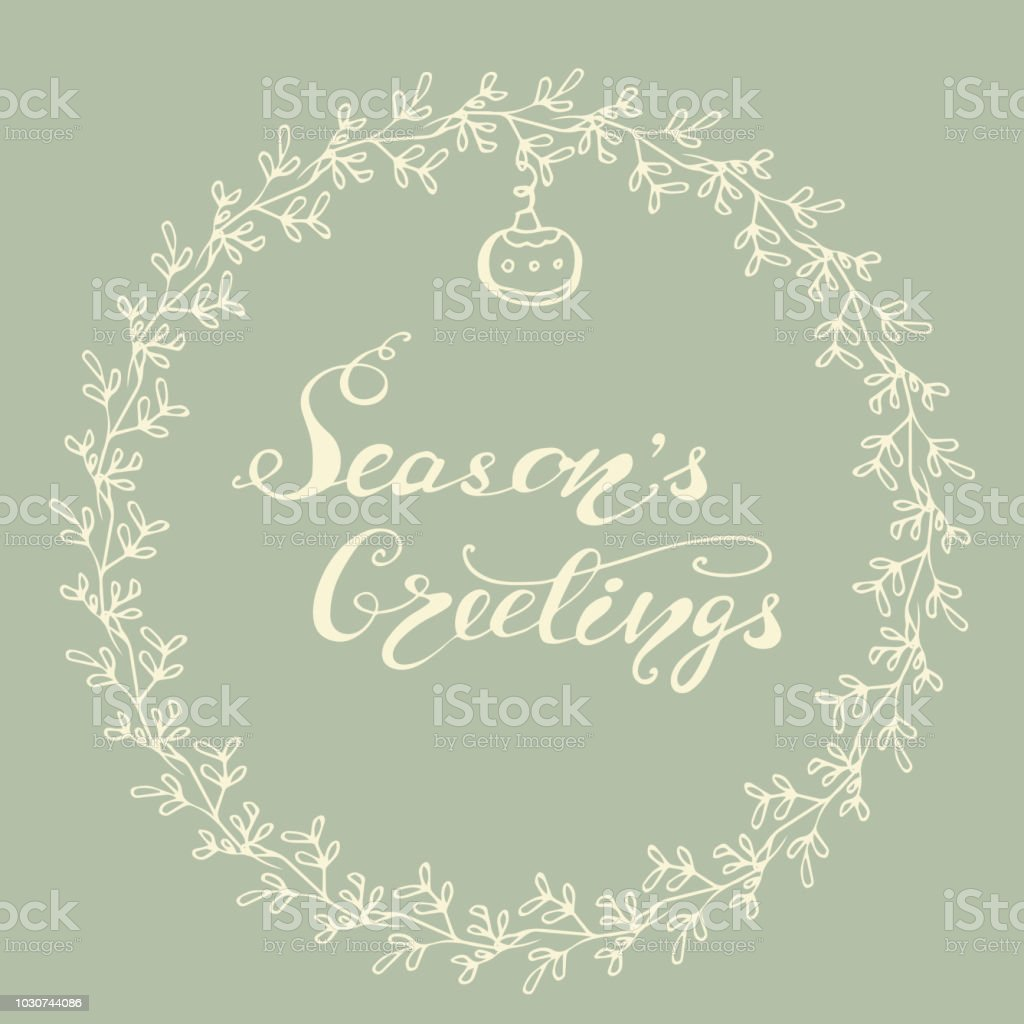 Greeting Card Design With Lettering Seasons Greetings Vector