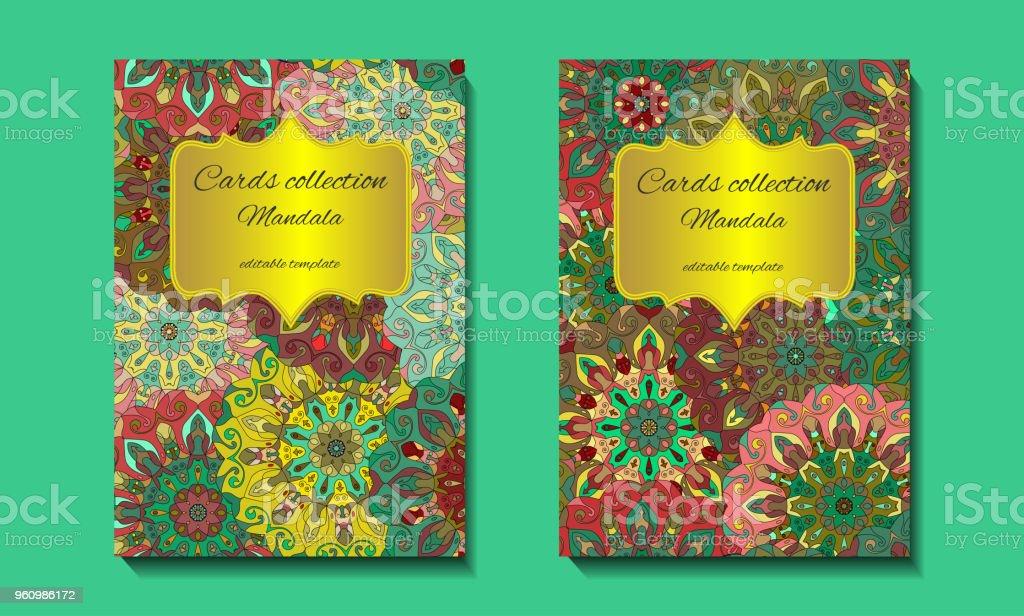 Grußkarte Design mit Mandala-Muster. - Lizenzfrei Etikett Vektorgrafik