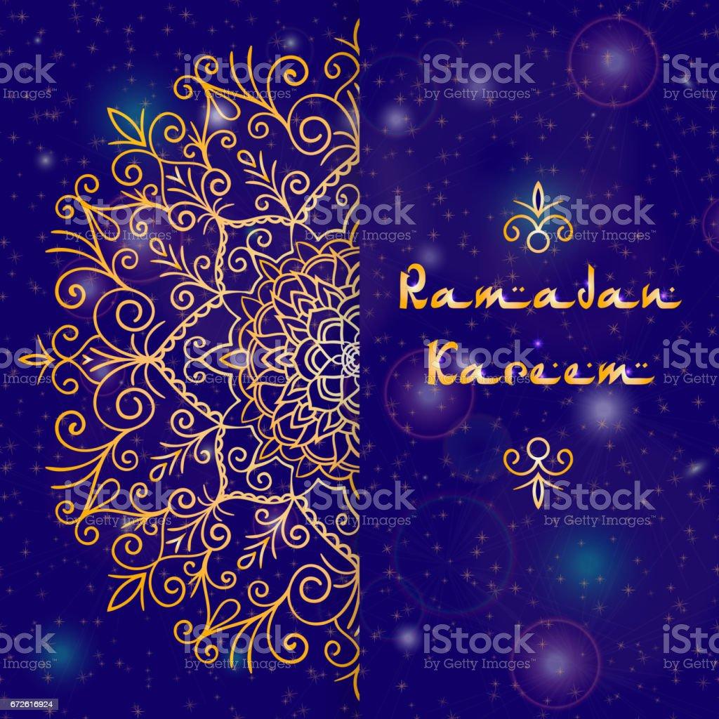 Greeting Card Design With Text Ramadan Kareem For Muslim Festival