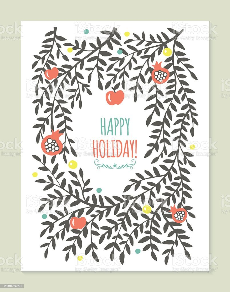 Greeting card design with tree branches, apple and pomegranate. vector art illustration
