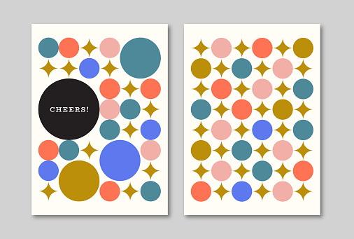 Greeting card designs with retro midcentury graphics