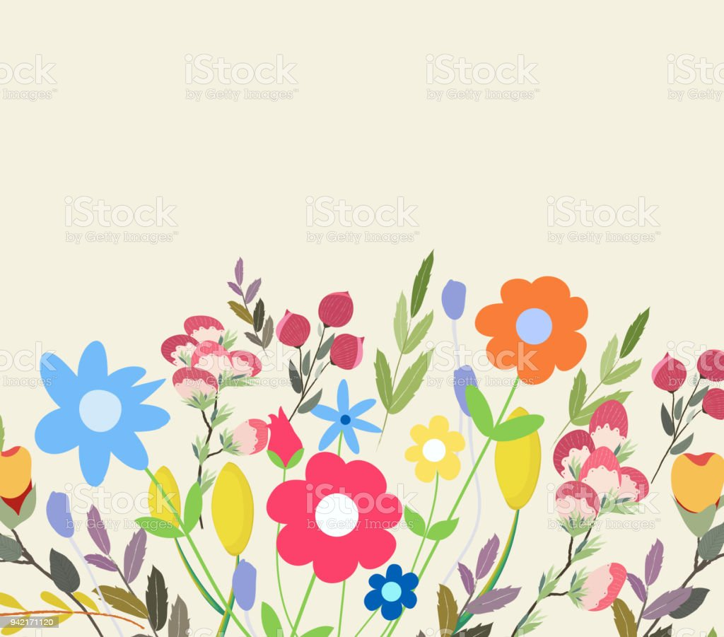 Grusskarte Blumen. Florale Illustration mit Feldblumen im Vintage-Stil. Frühling, Sommer – Vektorgrafik