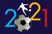 Carte de voeux 2021 sur le concept du sport avec comme symbole un ballon pour présenter un événement ou une compétition de football.