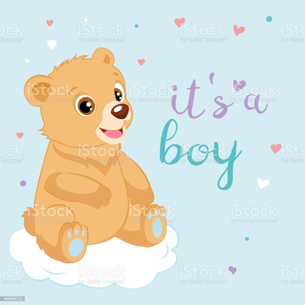 Vetores De Cartao De Felicitacoes Para O Bebe E Um Menino Ursinho