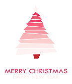 Merry Christmas greeting card design with trees