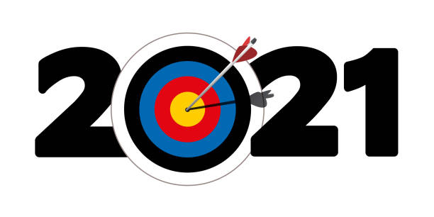 Greeting card for companies with the symbol of an arrow that reachs its target that forms the zero of 2021. vector art illustration