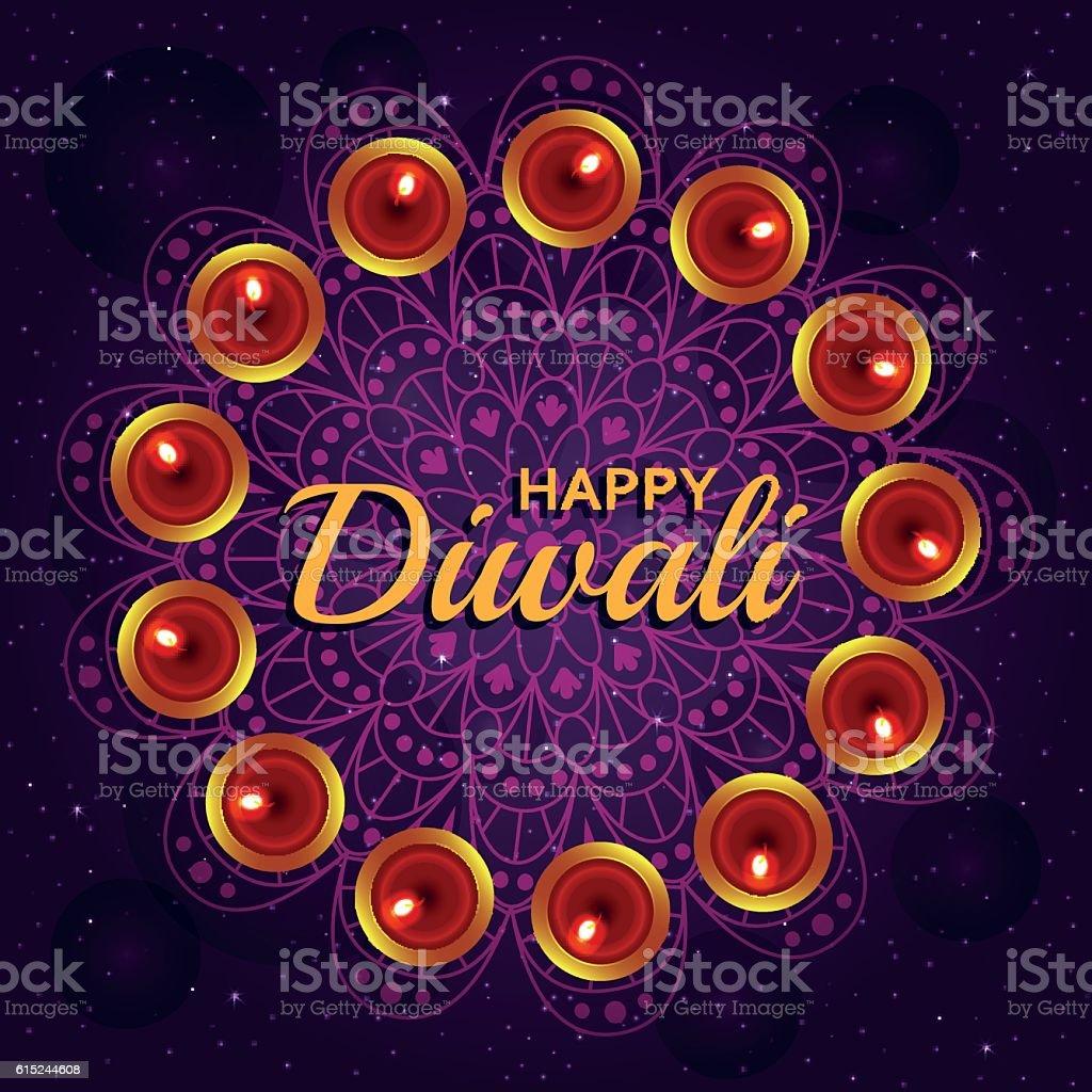 Greeting Card For Diwali Festival Celebration In India Stock Vector