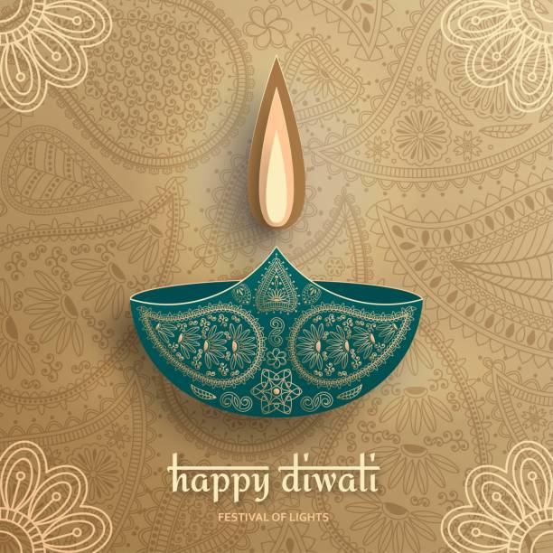 Greeting card for Diwali festival celebration in India. Vector illustration Greeting card for Diwali festival celebration in India. Vector illustration diwali stock illustrations