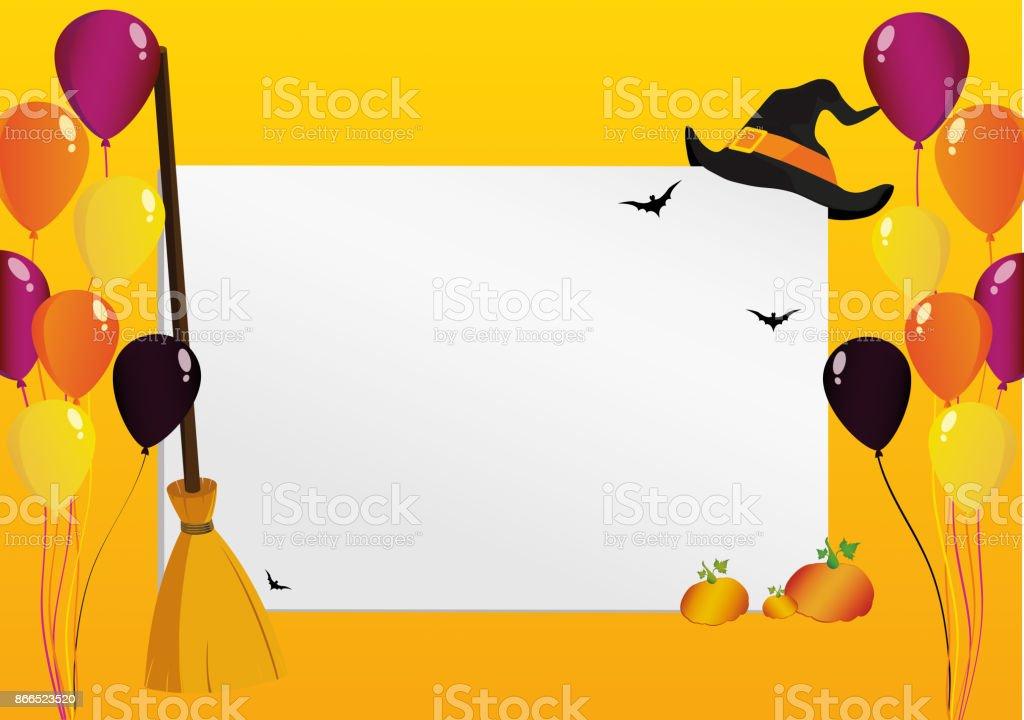 Grußkarte Für Halloween Kreativen Rahmen Mit Einem Kürbis Besen ...